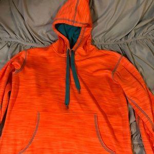 Orange and teal hoodie